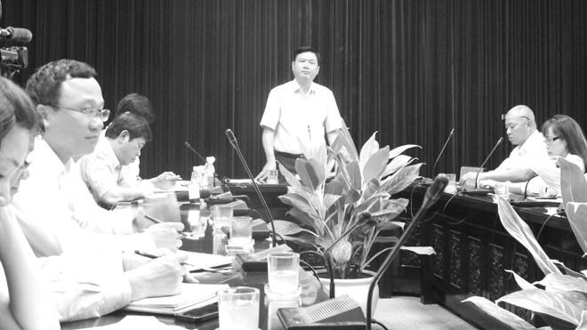 Bộ trưởng Thăng tại cuộc họp về sự cố hạ cánh của VietJet. Ảnh: Sỹ Lực