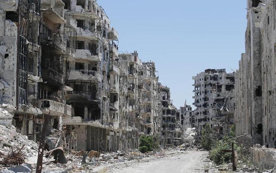 Các tòa nhà bị phá hủy ở thành phố Homs