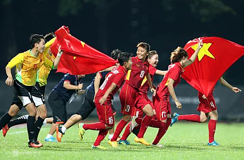 Đội tuyển bóng đá nữ xuất sắc giành vé vào vòng loại cuối cùng Olympic 2020. Ảnh: Vnexpress