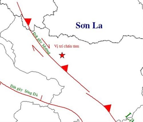 Vị trí tâm chấn động đất huyện Mường La, Sơn La lúc 19 giờ 14. (Nguồn: Viện Vật lý địa cầu)